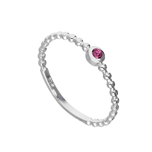 Sterling Silver & Alexandrite CZ Crystal June Birthstone Beaded Band Ring...