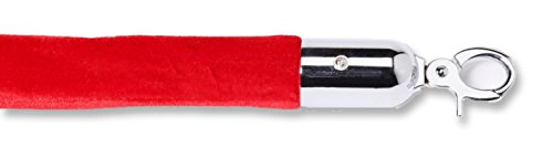 - ComeAlong Industries Velour Rope with Polished Chrome Snap End, 6', Red