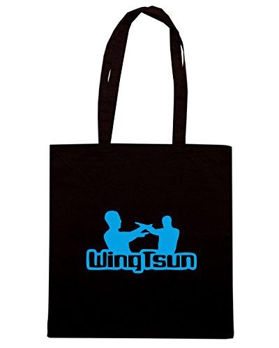 T-Shirtshock - Bolsa para la compra TBOXE0098 White wingtsun2 Men Negro