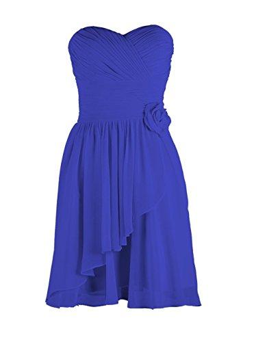 YiYaDawn Kurzes Trägerloses Brautjungfernkleid Cocktailkleid mit Blume für Damen Blau eTHw60K6