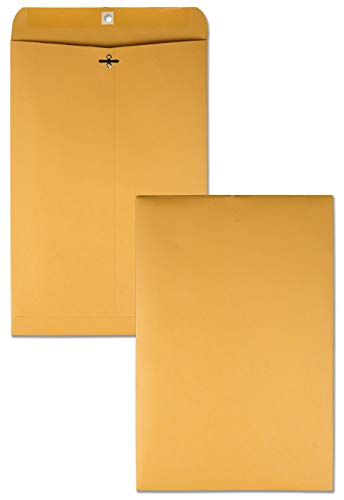 Quality Park, Clasp Envelopes,Gummed, Brown Kraft, 32 lb, 10x15, 100 per Box (37798) (Quality Park Kraft Envelope)