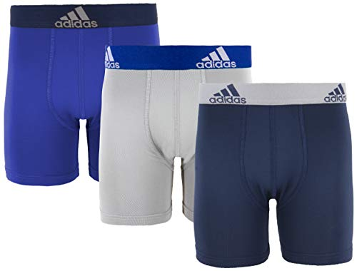 adidas Sport Performance Climalite Long Boxer Briefs (3-Pack), Collegiate Royal/Collegiate Navy | Grey/Collegiate Royal | Collegiate Navy/Grey, Large ()