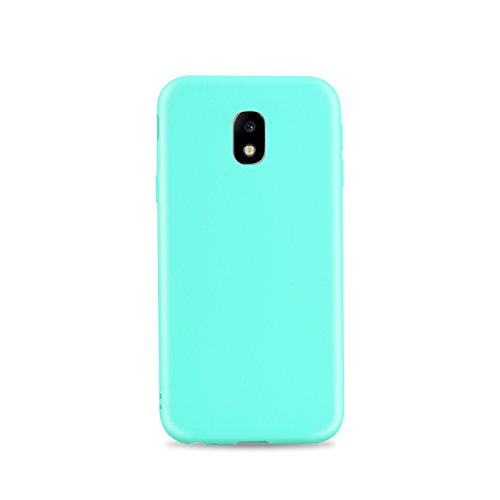 (Galaxy J3 2017 Case, Personalized Shockproof Anti-Scratch TPU Rubber Case Full-Body Protective Anti-Slip Cover for Samsung Galaxy J3 2017 - Light Blue)