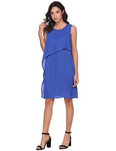 ANGVNS Blue Back Women's Layers Royal O Sleeveless Chiffon Dress Tunic Neck Double Zipper Dress wFOwq6r