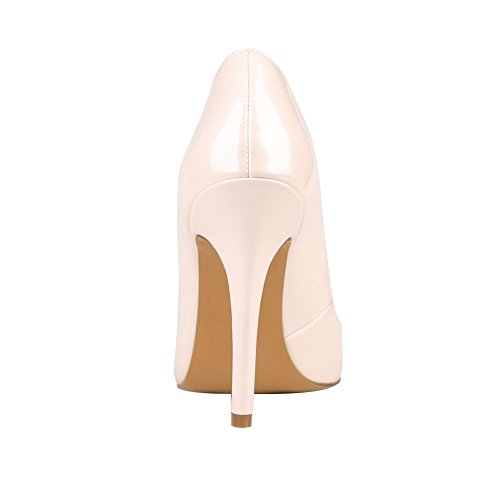 Pumps Pointed High 100mm Solid Patent On Shoes Court Kolnoo Heel Slip Women's Toe Beige wY4ASqW
