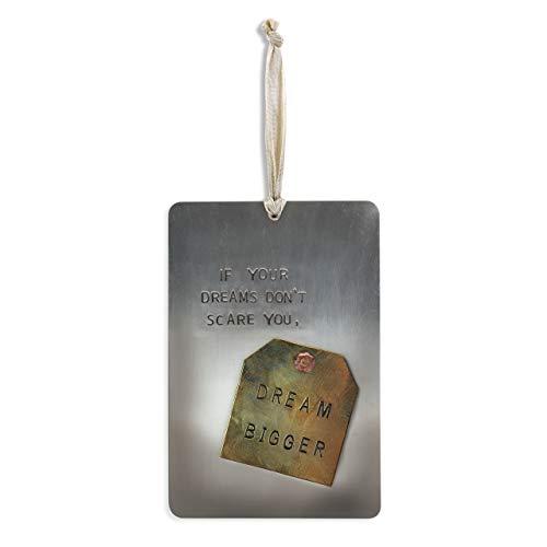 DEMDACO Dream Bigger Slate Grey 4 x 6 Hammered Metal Pinboard Sign Plaque