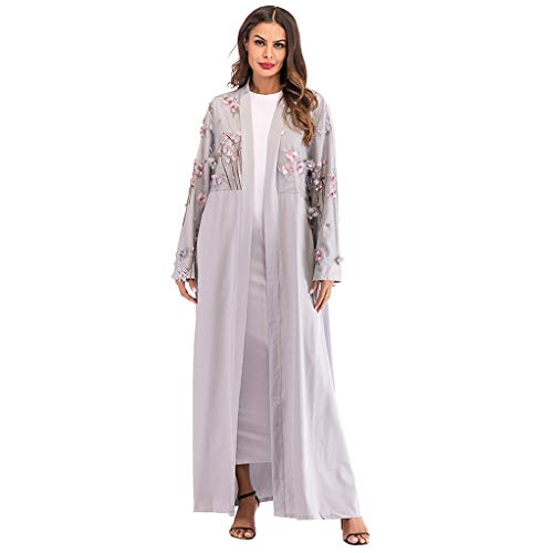 Muslim Middle Eastern Arab National Style Floral Embroidery Bow Tunic Belt Abaya Islamic Cardigan Robes Gray