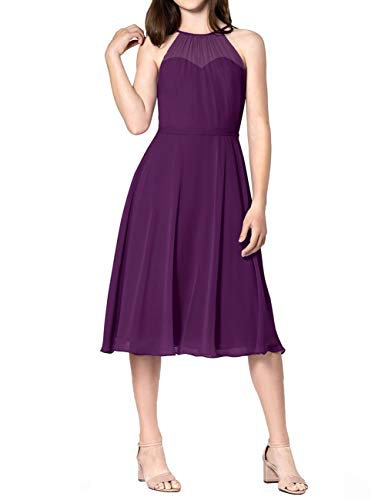 Short Bridesmaid Dresses Halter Chiffon Prom Homecoming for sale  Delivered anywhere in USA