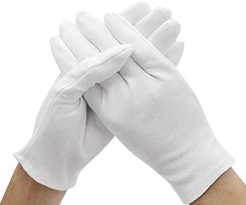 GBSTA Guantes de Boda 6 Pares de algodón Blanco Largo sin Pelusa ...