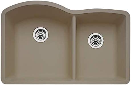 BLANCO 441284 DIAMOND SILGRANIT 32 Double Bowl Undermount, Truffle Kitchen Sink, 9.50 x 19.00 x 32.00 inches