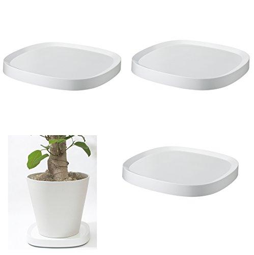 Plantable プランタブル キャスター付き 植木鉢トレー Lサイズ ホワイト 3個セット tidy ティディ 鉢台 鉢皿 受皿 自宅 店舗 B07F8NP6TV