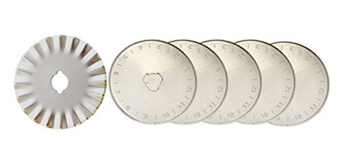 Firefly Craft 45MM Rotary Cutter Blades Set, 6 Pack (5 Replacements, 1 Pinking)