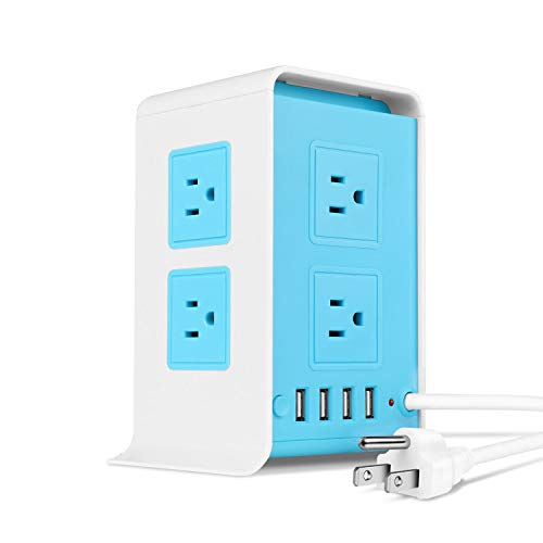 TNP Power Strip Tower Surge Protector with 4 USB Ports 8 AC Outlet, Charging Station Power Supply Multi Socket Plug with 6ft Extension Cord For PC Laptop Smartphone & Appliance (Blue)