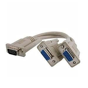 Todwish Dual-VGA macho a 2 VGA femenino Y vídeo SVGA divisor Cable de monitor