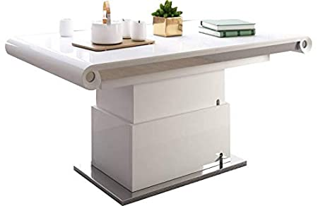 mobilier nitro Mesa Baja elevable Extensible idelma Color Blanco ...