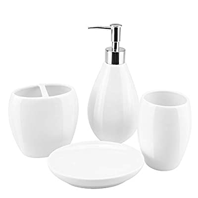 4-Piece Ceramic Bathroom Accessory Set, Bathroom Accessories Set Includes Soap Dispenser, Toothbrush Holder, Tumbler, Soap Dish, Complete Bathroom Ensemble Sets for Bath Decor, Ideas Home Gift (White) - Elegant Ceramic - Our bathroom accessories set is made of beautiful, quality ceramic with glossy monochrome and smooth surface, that outfit your new bathroom or upgrade your current set of accessories with its exquisite design, giving your bathroom a touch of elegance feel. Complete Bathroom Essentials - This is a complete bathroom essentials set providing daily bath accessory to keep your bathroom necessities fully organized, includes a soap dispenser pump, a toothbrush holder, a tumbler, a soap dish. Quality Material - All pieces are made of natural porcelain clay high temperature firing, healthy materials are safe for daily uses and easy to clean. Exquisite fitting with a lightweight plastic press head makes it easy to squeeze out liquids, and fits tightly to prevent leakage. - bathroom-accessory-sets, bathroom-accessories, bathroom - 31bMYgHsgCL. SS400  -