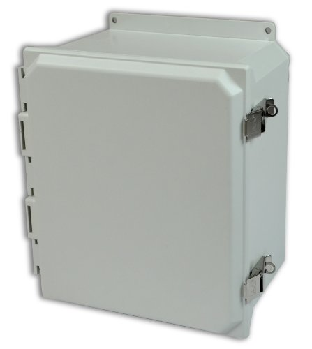 Allied Moulded AMU1648LF Ultraline Series Fiberglass JIC Size Junction Box, Snap Latch and Hinged Cover with Mounting Flanges and Opaque Cover