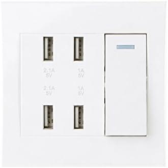 BIlinli 220V 10A Toma de Interruptor de Pared Cargador USB de 4 ...