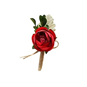 Cupcinu Artificial Corsage Boutonniere Wedding Boutonniere Groom Groomsman Bride Handmade Rose Wedding Flowers Accessories Prom Suit Decoration with Fabrics Unisex 1pcs(Red) 26