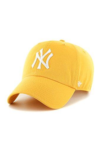 Gorra visera curva amarilla con logo frontal grande de MLB New York Yankees de 47 Brand - Amarillo, Talla única