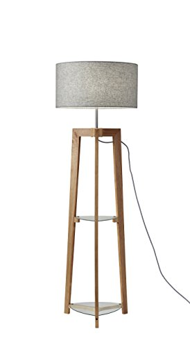 Adesso Shelf - Adesso 3007-12 Henderson Shelf Floor Lamp, Walnut Ash Wood
