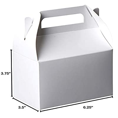 Party Favors Paper Treat Boxes - White Colored Paper Containers & Boxes Treat Container Cookie Boxes Cute Designs Perfect for Parties and Celebrations 6.25