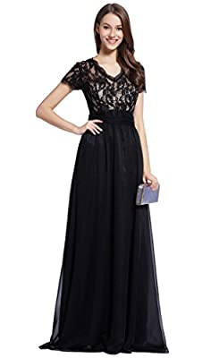 Merope J Womens V Neck Full Length Emebroidery Cocktail Wedding Bridal Dress
