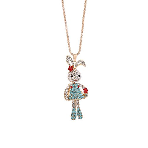 Engagement Pendant Necklace (Charm Crystal Rhinestone Rabbit Pendant Necklace, Compact, Elegant, Stylish, Unpara Fashion Women Bridal Engagement Cute Pendant Sweater Necklace (Blue))