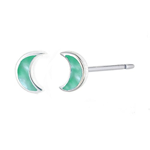 Boma Sterling Silver Green Mother of Pearl Crescent Moon Stud Earring