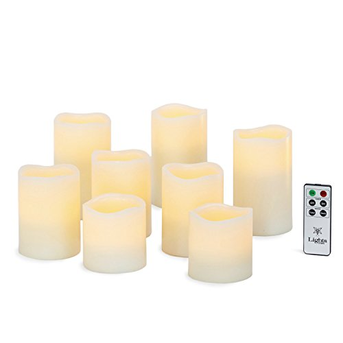 Cream Wax Flameless Pillar Candles with Warm White LEDs, Battery Operated, Assorted Sizes, Remote and Batteries Included - Set of 8