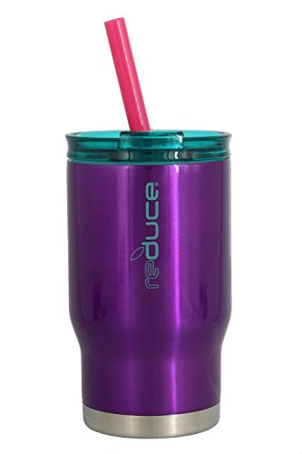 reduce COLDEE Vacuum Insulated Stainless Steel Kids Tumbler with Straw, 3-in-1 Lid, 14oz - Tasteless and Odorless, BPA Free, Portable & Great for Children (Purple w/Teal ()