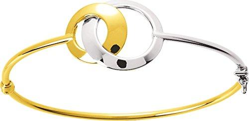 Robbez Masson - Bracelet Rigide Bicolore - Femme - 349.1G - Or 18K - Ouvrant - Creux - Taille Unique 50 X 60 - Fermoir Embout avec Huit De Sécurité - 4.50 Grs