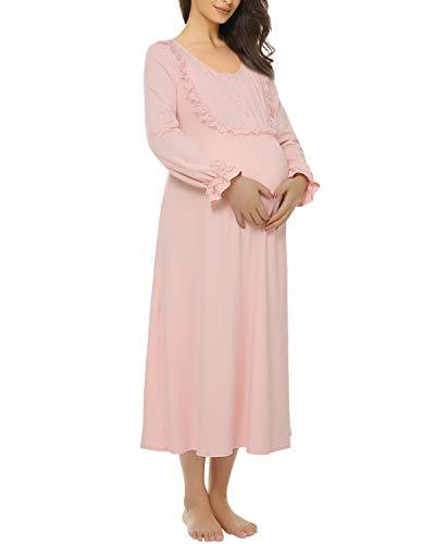 Suzicca Womens Cotton Victorian Vintage Lace Long Nightgown Sleepwear Maternity Dress