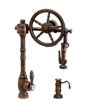 - Waterstone 5100-2-WC Traditional The Wheel Pull Down Kitchen Faucet 2pc. Suite Weathered Copper