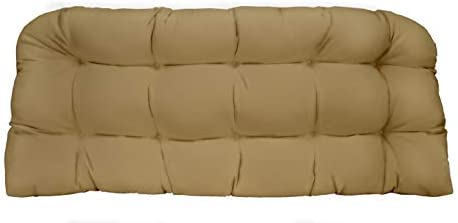 RSH D cor Indoor Outdoor Tufted Love Seat Wicker Cushion Patio Weather Resistant Choose Color Size Tan, 41 x 19