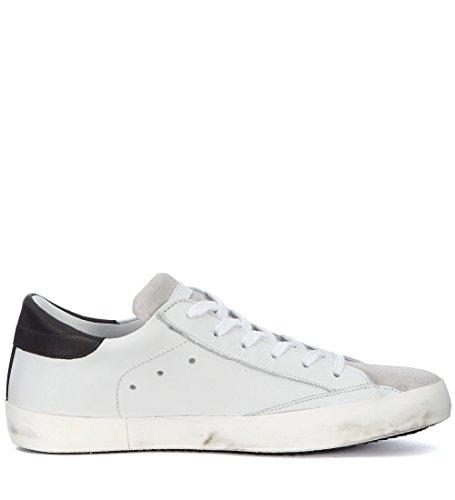 Philippe Model Sneaker Paris in Pelle Bianca e Suede Grigio Bianco