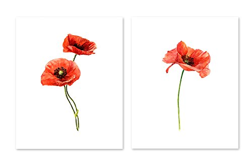 AtoZStudio A33 Red Poppies Flower Wall Art Decor Prints - Set of 2 Pictures - Poppy Cute Botanical Nature Plant Home Posters - Watercolor Painting Artwork - Artwork Poppies