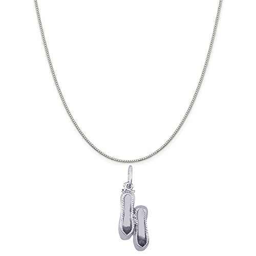 Rembrandt Charms 14K White Gold Ballet Slippers Charm on a 14K White Gold Box Chain Necklace, (White Gold Ballet Slippers)