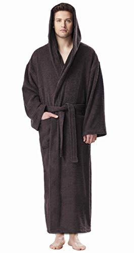 (Arus Men's Hooded Classic Bathrobe Turkish Cotton Robe with Full Length Options (L/XL Long,Charcoal))