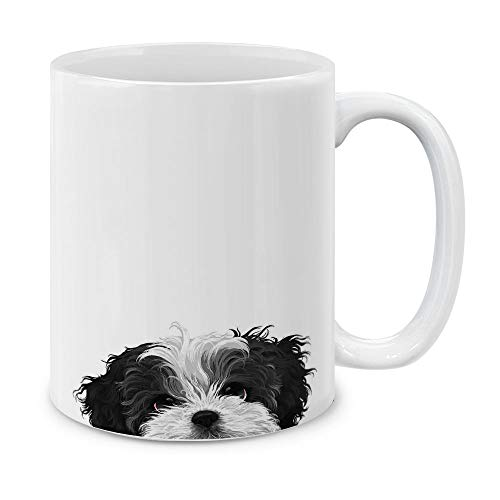 MUGBREW Black White Shih Tzu Ceramic Coffee Gift Mug Tea Cup, 11 OZ