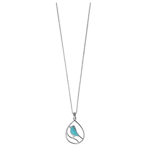Boma Jewelry Sterling Silver Turquoise Bird Necklace, 16 inches