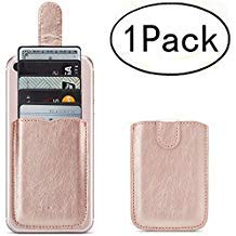 Phone Card Holder RFID Blocking Sleeve, Pu Leather Back Phone Wallet Stick-On Pull up 5 Card Holder...