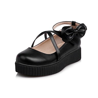 Cómodo y elegante soporte de zapatos de las mujeres pisos primavera verano otoño invierno otros sintética oficina y carrera vestido casual soporte de talón hebilla de lazo negro rosa blanco rosa