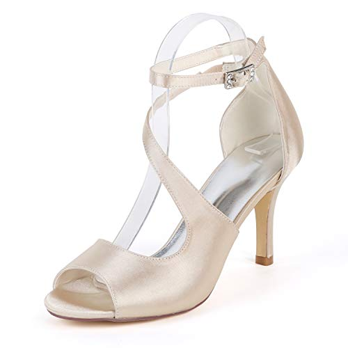 Elobaby Women Wedding Shoes Peep Toe Ivory Chunky High Heels Court Silk Like(6CM Heel), Champagne, ()