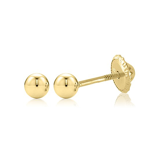 18K Yellow Gold Polished Screwback Earrings Stud with Ball Stud 3mm Children Kids Adult Second Piercing
