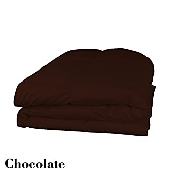 Image of 1000TC Queen Size Chocolate Solid 8pc Bedding Set (with 500GSM Comforter,21' Deep Pocket Fitted Sheet & 21' Drop Length Bedskirt) 100% Egyptian Cotton - by AP Beddings Home and Kitchen