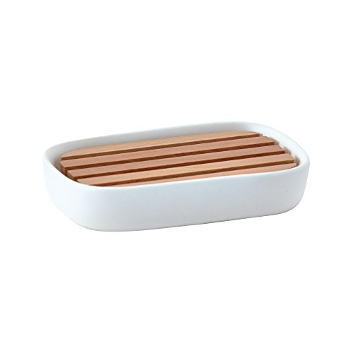 Nova Bath Collection Oscar Rectangular Ceramic Soap Dish Holder Tray, Soap Saver with Wood Drain (White)