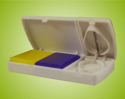 Tablettendose mit integriertem Pillenteiler, Tablettendose, Kombigerät Farbe: Weiss *Top-Qualität - Top Preis*