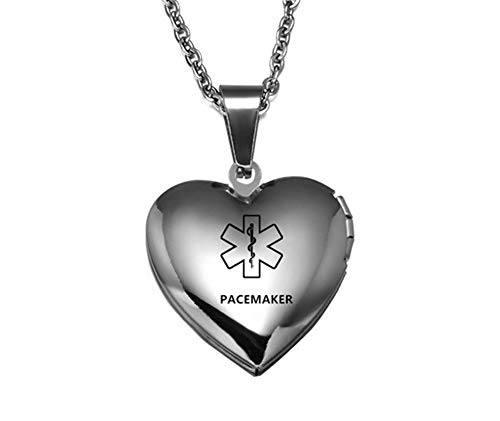 LiFashion LF Stainless Steel Pacemaker ICE Message Custom Openable Photo Parper Medical Alert Necklace Medical ID Heart Locket Pendant Emergency for Men Women Kids