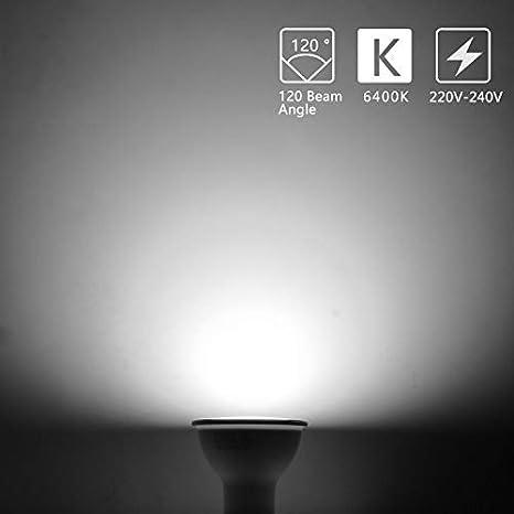Confezione da 5. Luce Bianca Calda 3000K 560 Lumen Nessun Sfarfallio Non Dimmerabile Angolo a Fascio 120-160 Gradi Aigostar Lampadina LED GU10 8W Classe di efficienza energetica A+